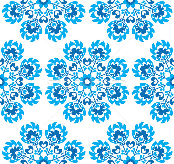 Seamless blue floral Polish folk art pattern - wzory lowickie, wycinanki    Stock photo © RedKoala