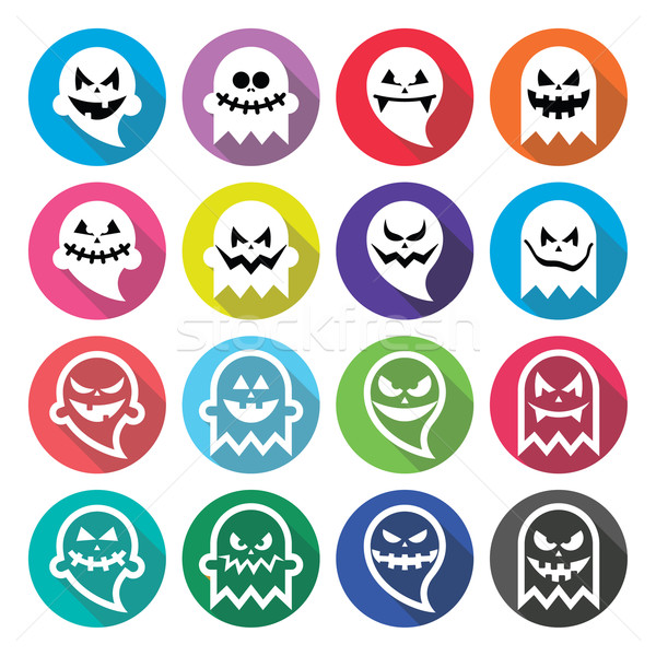 Halloween scary ghost, spirit flat design icons set    Stock photo © RedKoala