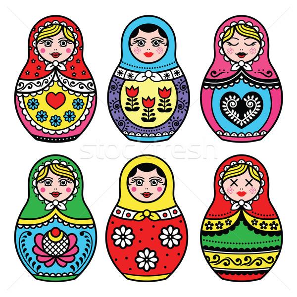Matryoshka, Russian doll colorful icons set  Stock photo © RedKoala