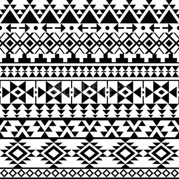 Végtelenített fekete nyomtatott minta törzsi terv Stock fotó © RedKoala