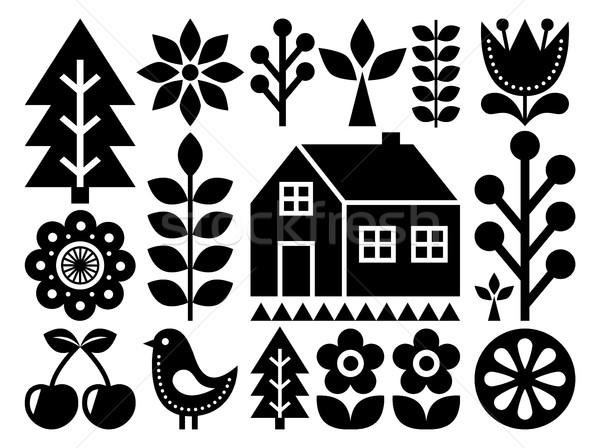 Scandinavian, Nordic folk art pattern - inspired by Finnish art, black and white Stock photo © RedKoala