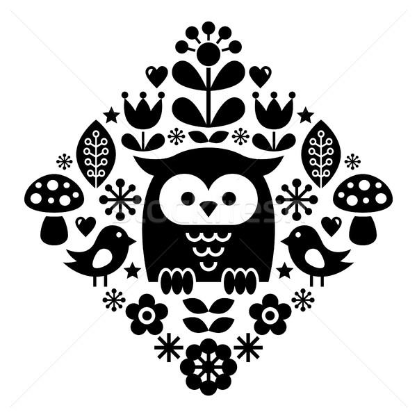 Scandinavian pattern, Nordic folk art - inspired by traditional Finnish and Swedish designs Stock photo © RedKoala