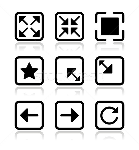 Website screen icons set - full screen, minimize, refresh Stock photo © RedKoala