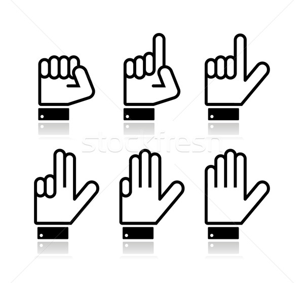 Stock photo: Counting hand signs - vector isolated on white
