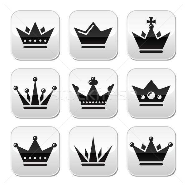 Crown, royal family buttons set Stock photo © RedKoala