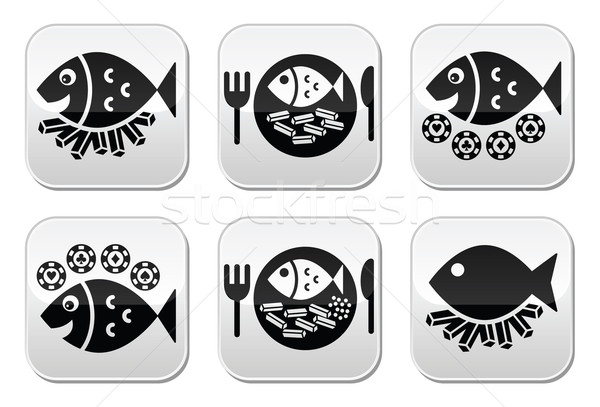Fish and chips vector buttons set  Stock photo © RedKoala
