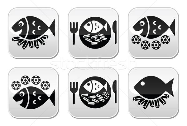 魚 チップ ベクトル ボタン セット ストックフォト © RedKoala