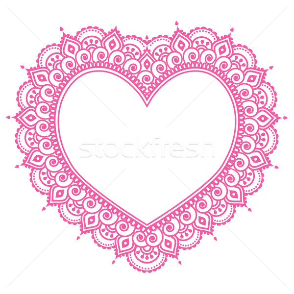 Heart Mehndi pink design, Indian Henna tattoo pattern - love concept Stock photo © RedKoala