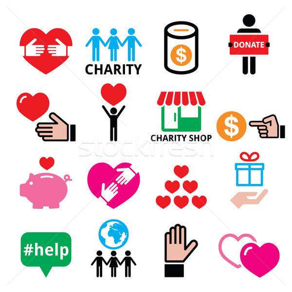 Liefdadigheid helpen ander mensen iconen vector Stockfoto © RedKoala