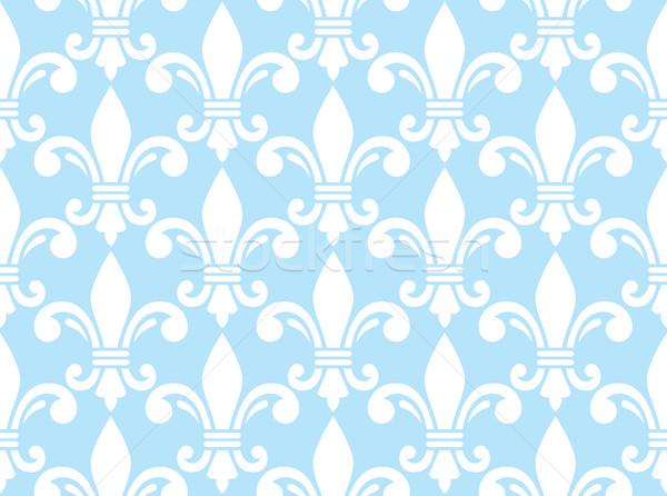 Fleur de lis white and blue semless pattern - French floral background Stock photo © RedKoala