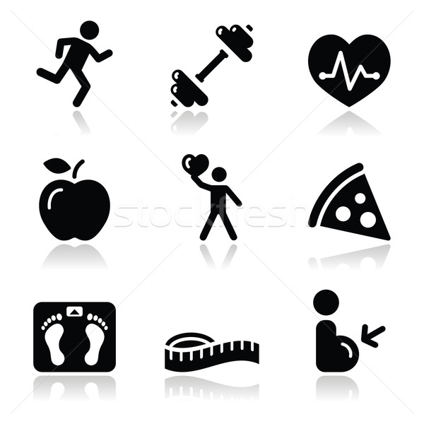 Health and fitness black clean icons set Stock photo © RedKoala