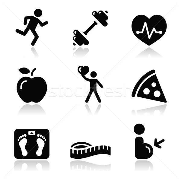 Gezondheid fitness zwarte schone schaduw Stockfoto © RedKoala