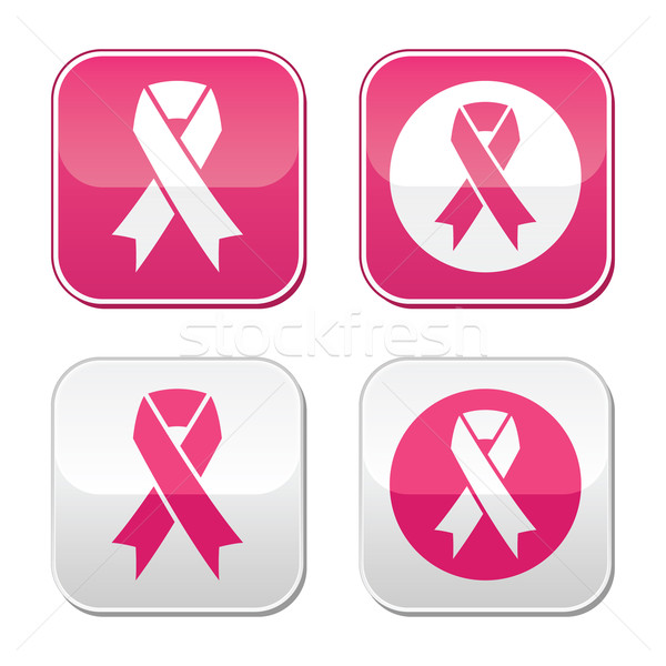 Ribbon symbols for breast cancer awareness buttons Stock photo © RedKoala