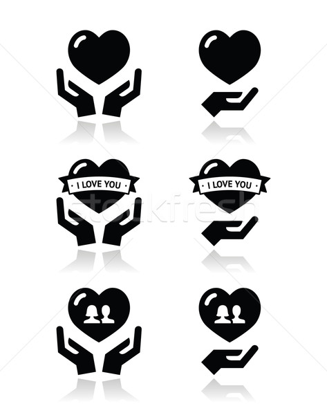 Hands with heart, love, relationship icons set Stock photo © RedKoala
