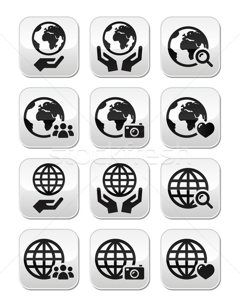 Stock photo: Globe earth with hands vector icons set with reflectionUntitled