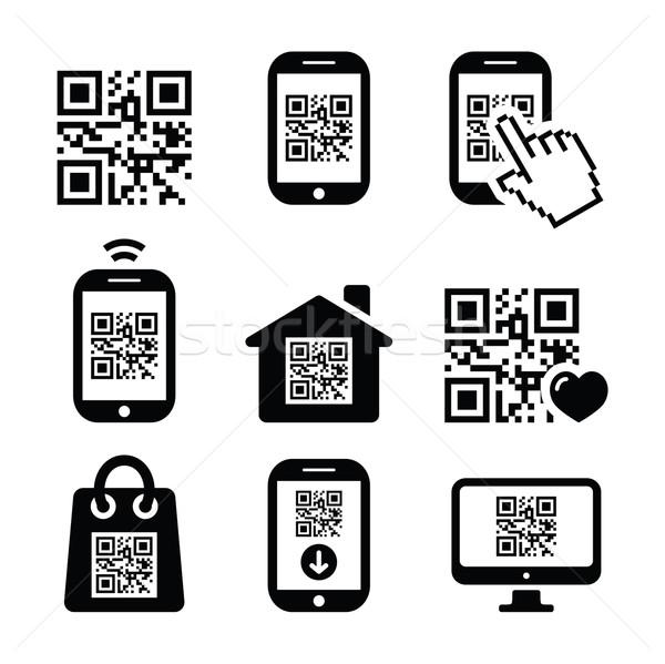 Qr code mobiele mobiele telefoon smartphone vector Stockfoto © RedKoala