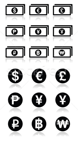 Currency exchange symbols - bank notes and coins icons set Stock photo © RedKoala