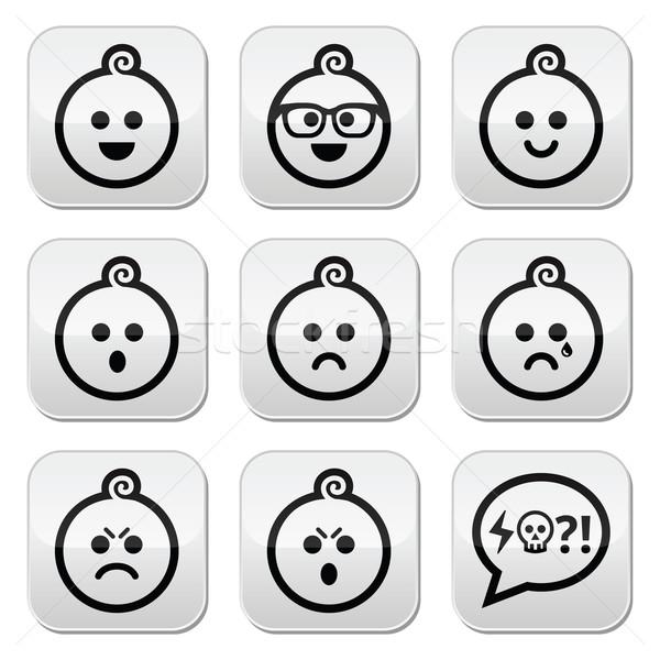Baby boy faces, avatar vector buttons set Stock photo © RedKoala
