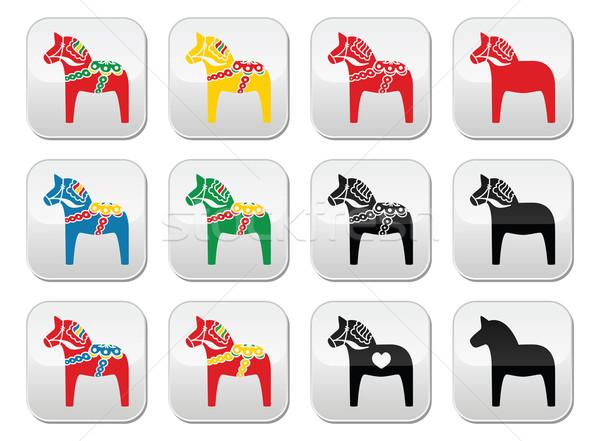 Ló vektor gombok szett szimbólum Skandinávia Stock fotó © RedKoala
