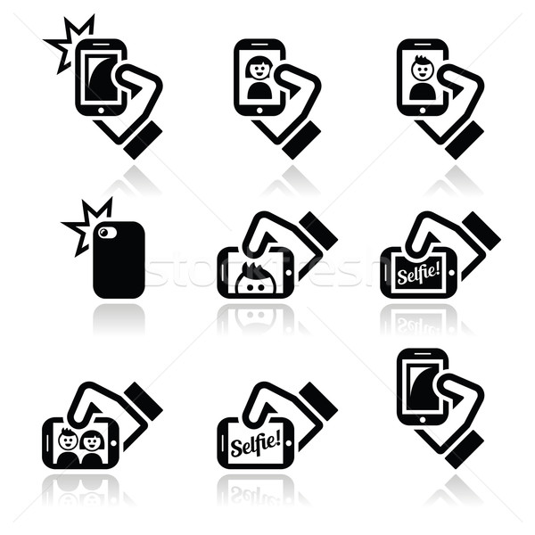 Selfie, taking photos with smartphones for social media icons set  Stock photo © RedKoala
