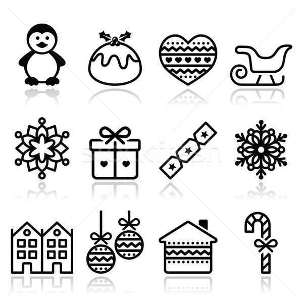 Foto stock: Natal · inverno · ícones · pinguim · pudim · vetor