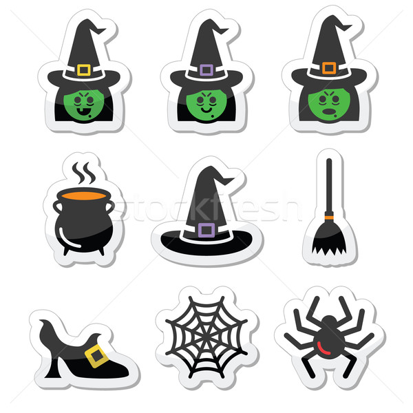 Witch Halloween vector icons set Stock photo © RedKoala