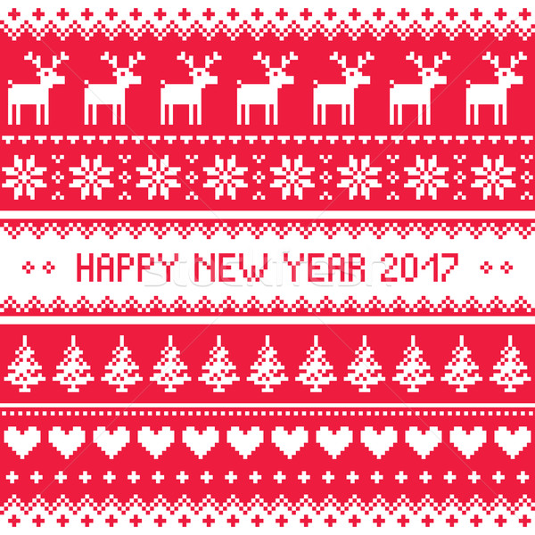 Buon anno rosso ricamo pattern bianco biglietto d'auguri Foto d'archivio © RedKoala