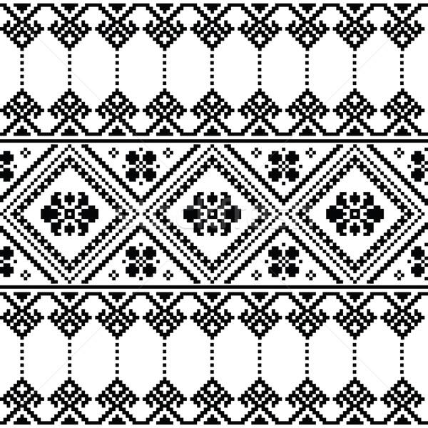 Ukrainian or Belarusian folk art black floral embroidery pattern or print    Stock photo © RedKoala