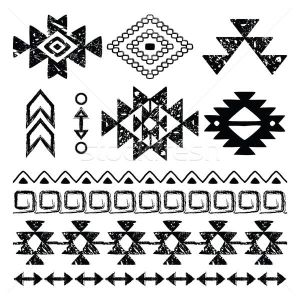 рисованной печать ретро шаблон племенных дизайна Сток-фото © RedKoala