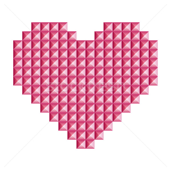 Love, heart symbol made of 3d abstract vector squares Stock photo © RedKoala