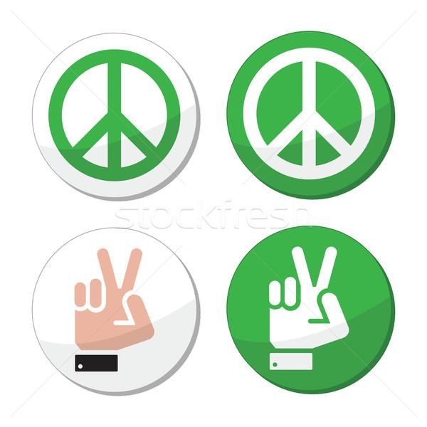 Frieden Handzeichen Vektor Hand Liebe Stock foto © RedKoala