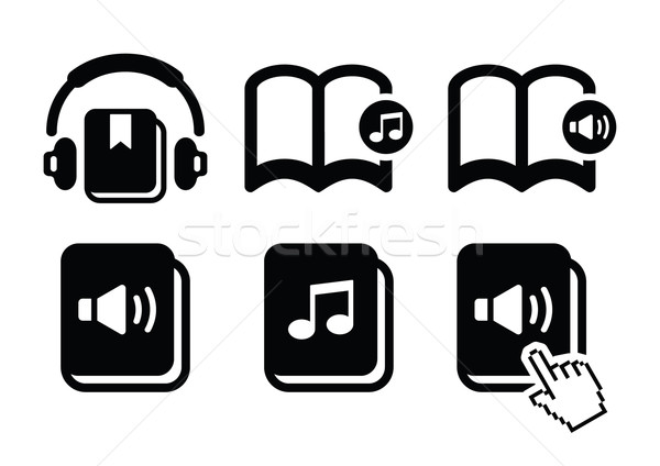Audiobook vector icons set Stock photo © RedKoala