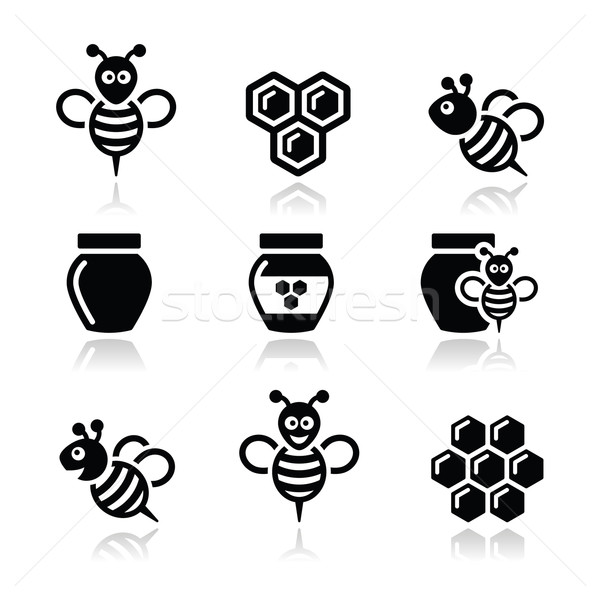 Bee and honey vector icons set Stock photo © RedKoala