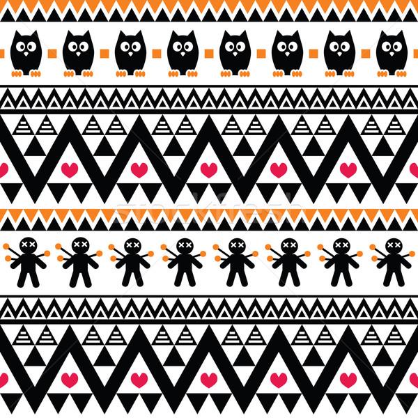 ハロウィン 部族 印刷 スタイル 黒 ストックフォト © RedKoala