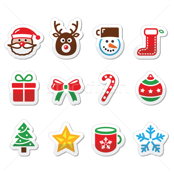 Christmas colorful icons set - Santa, present, tree, Rudolf Stock photo © RedKoala