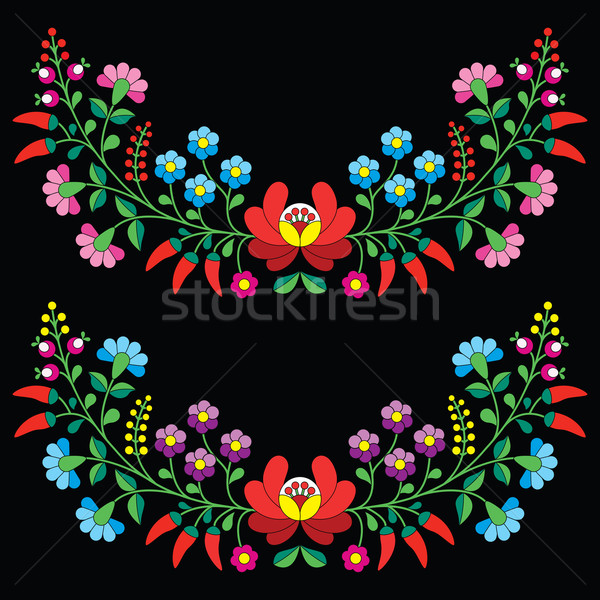 Hungarian floral folk pattern - Kalocsai embroidery with flowers and paprika  Stock photo © RedKoala