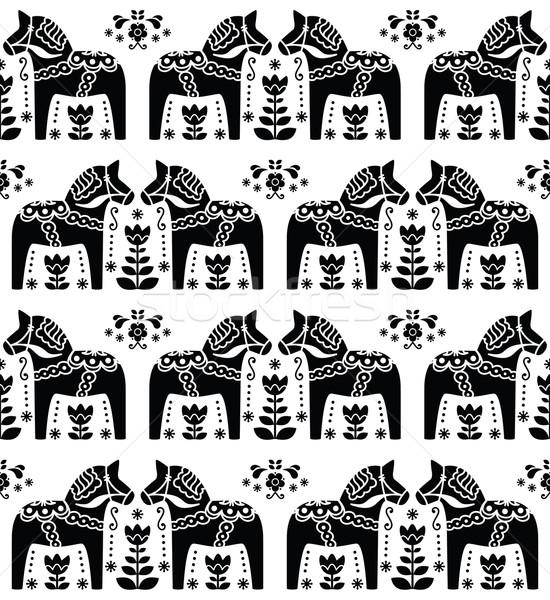 Swedish Dala or Daleclarian horse seamless folk art pattern  Stock photo © RedKoala