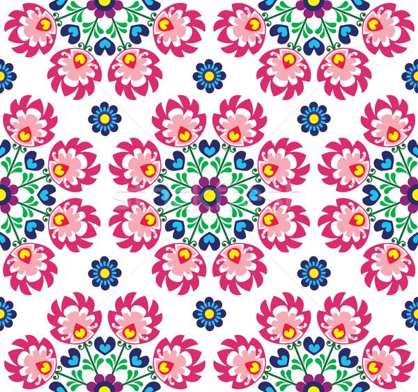 Seamless floral Polish folk art pattern - Wzory Lowickie, Wycinanki  Stock photo © RedKoala