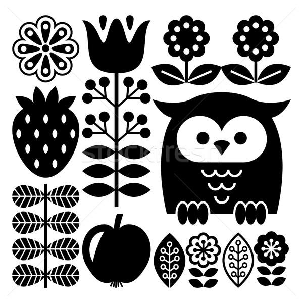 Finnish inspired folk art pattern in black - Scandinavian, Nordic style Stock photo © RedKoala