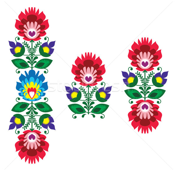 Folk embroidery - floral traditional polish pattern Stock photo © RedKoala