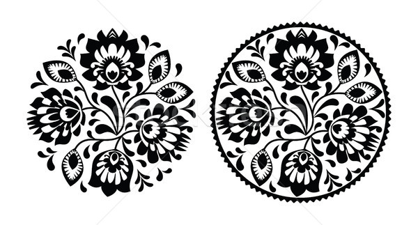 Folk embroidery with flowers - traditional polish round pattern in monochrome Stock photo © RedKoala