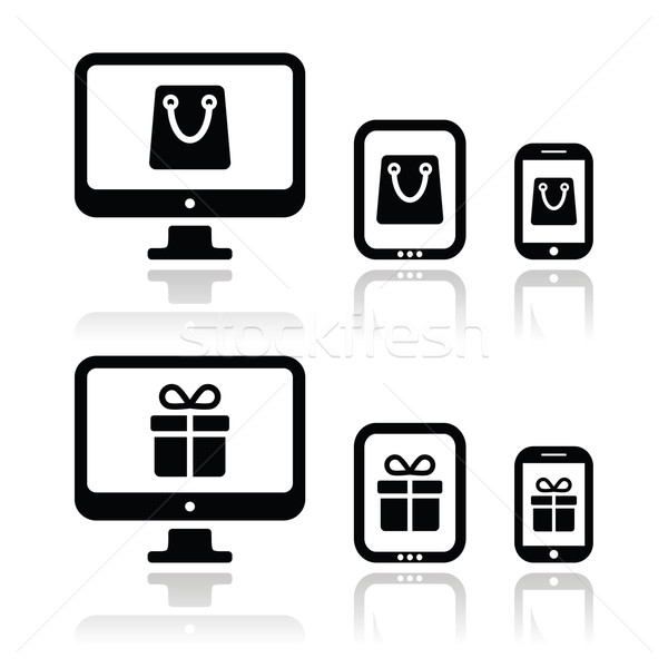 Stock photo: Shopping online, internet shop icons set