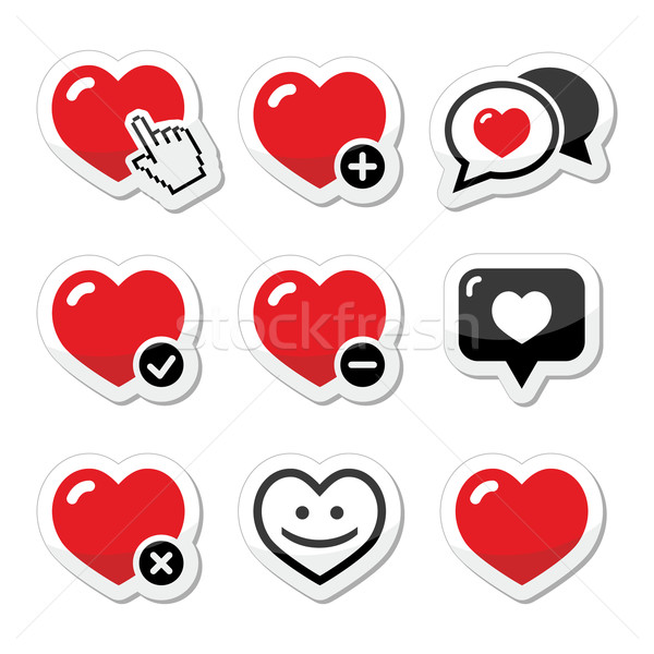 Stock photo: Heart, love vector icons set