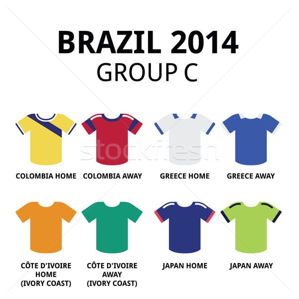 World Cup Brazil 2014 - group C teams football jerseys  Stock photo © RedKoala