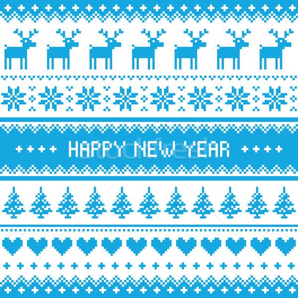 Happy New Year - Nordic winter blue pattern  Stock photo © RedKoala