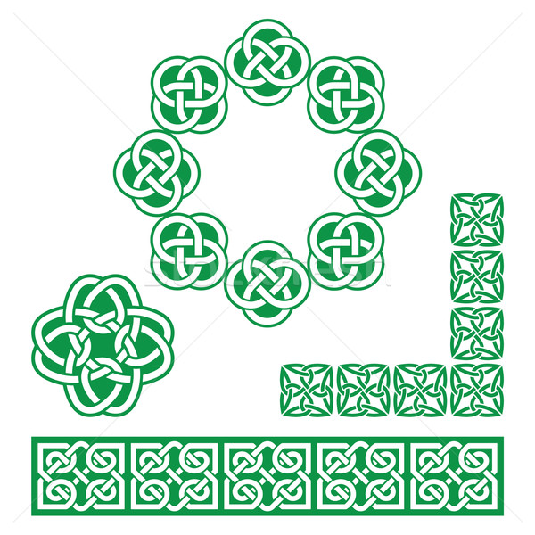 Ierse celtic groene ontwerp patronen Stockfoto © RedKoala