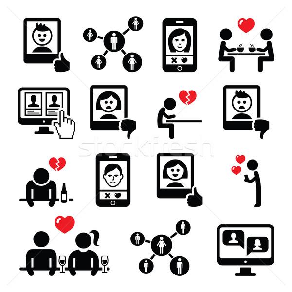 On-line namoro aplicativos casais data vetor Foto stock © RedKoala