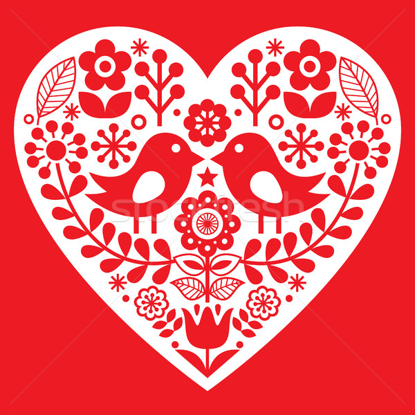 Valentine's Day folk pattern with birds and flowers - Finnish inspired Stock photo © RedKoala