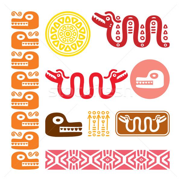 állatok kígyó ősi mexikói terv szett Stock fotó © RedKoala