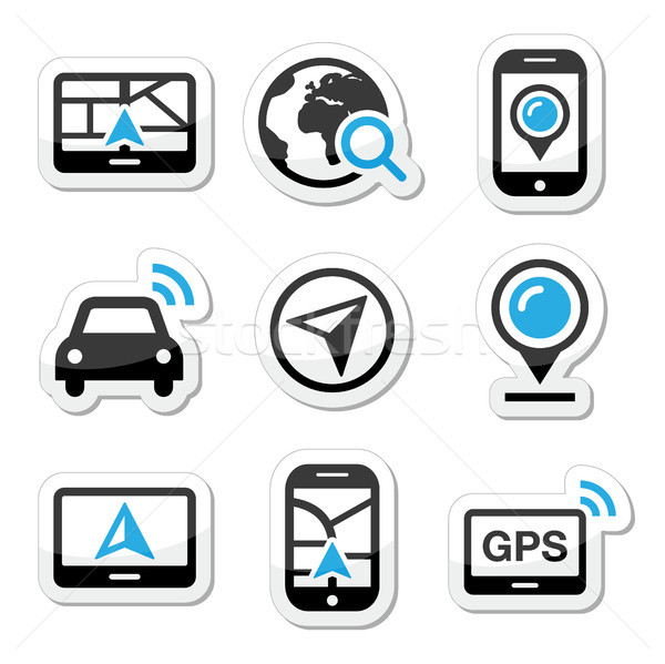 GPS, navigation travel vector icons set  Stock photo © RedKoala